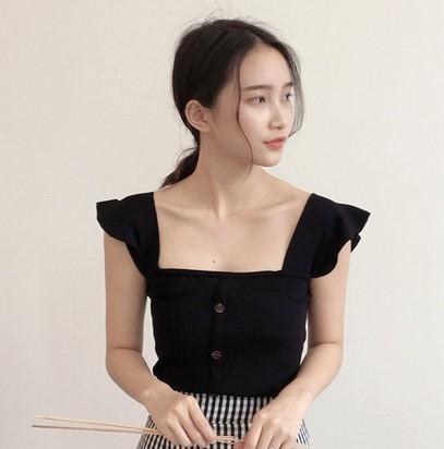 EASON SHOP(GU6243)小飛袖排釦露背平口無袖針織衫吊帶背心彈力貼身女上衣服女韓版春夏裝