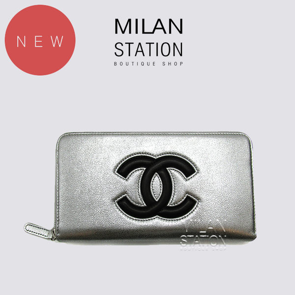 【台中米蘭站】全新品 CHANEL 羊皮銀色拉鍊長夾