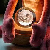 創意3D月亮燈水晶球小夜燈月球燈床頭燈