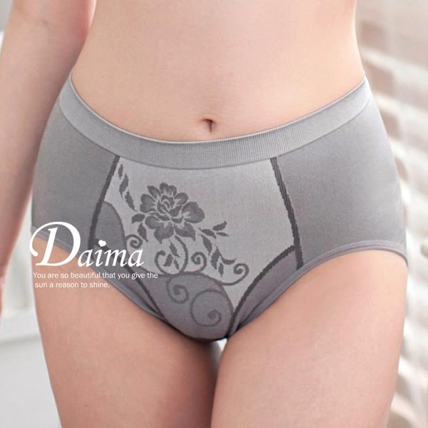 內褲   MIT【台灣製】加大款-竹炭高腰無縫褲FREE(灰色)【Daima黛瑪】