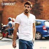 短襯衫 簡木男裝夏季休閒男士修身亞麻短袖襯衫男純白色襯衫 非凡小鋪