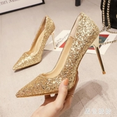 新款大尺碼高跟鞋結婚鞋新娘鞋亮片水晶鞋細跟婚鞋女銀色伴娘鞋 XN7049『黑色妹妹』