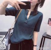毛針織衫女中袖修身打底薄款韓版新款半開領紐扣女針織上衣 黛尼時尚精品