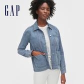 Gap女裝 時尚水洗寬鬆牛仔外套 516585-中度靛藍