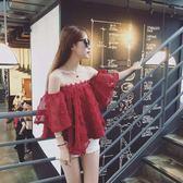 $299出清專區 韓國名媛風性感一字肩平口娃娃衫立體花朵長袖上衣