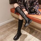 過膝長靴 長靴女過膝新款秋款網紅英倫風瘦瘦靴小個子高筒馬丁靴加絨冬【【八折搶購】】
