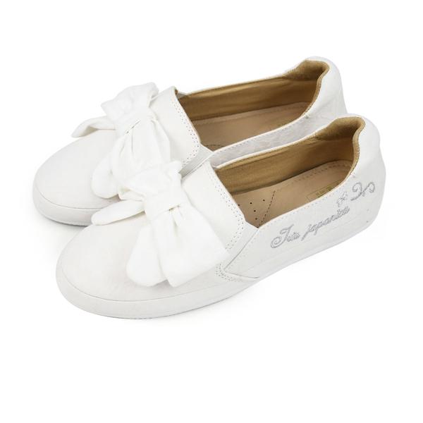 Paidal 典雅大蝴蝶結休閒鞋樂福鞋懶人鞋-小白鞋