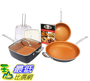 [8美國直購] 陶瓷鍋鈦合金不沾鍋 Gotham Steel 1371 Tastic Bundle 7 Piece Cookware Set Titanium Ceramic Pan, Copper