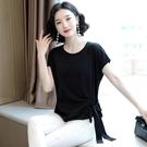 真絲上衣 重磅真絲黑色短袖t恤女寬鬆繫帶大碼修身夏季桑蠶絲上衣-Ballet朵朵