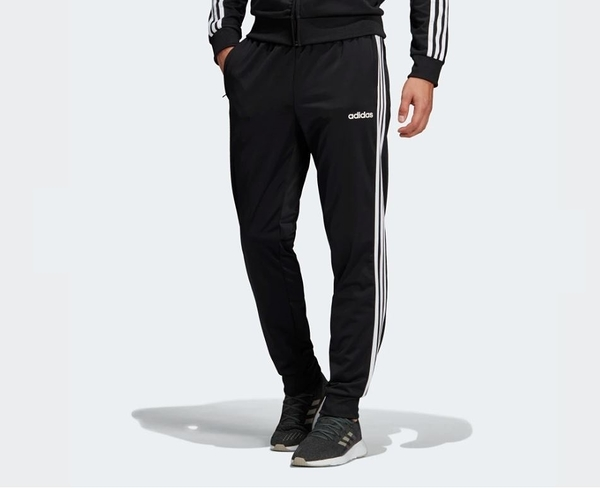 Adidas ESSENTIALS 3-STRIPES TAPERED TRICOT PANTS 男款黑色運動褲-NO.DQ3076