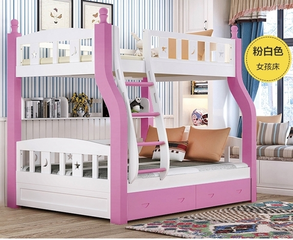 【千億家居】實木兒童床組(粉白色款)上下床/高低床/母子床/上下舖/雙層床架/兒童家具/SE194