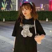 2020新款夏季網紅原宿寬鬆韓版小熊純棉短袖T恤女黑色上衣服ins潮 小城驛站