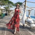 洋裝 普吉島民族風吊帶顯瘦連身裙三亞海邊度假沙灘裙波西米亞長裙女夏