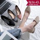 跟鞋-尖頭絨面方跟拼接包鞋【XLW0831-1】