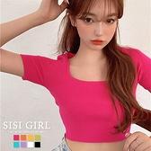 SISI【T20021】繽紛甜美方領性感鎖骨短袖短版顯胸曲線露肚露腰針織T恤T-shirt上衣韓國復古