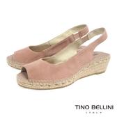 Tino Bellini 西班牙進口簡約麂皮魚口麻編楔型涼鞋 _ 粉 A83043A 歐洲進口款