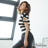 Victoria  條紋袖變化短袖T-女-黑條
