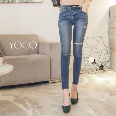 東京著衣【YOCO】美腿效果刷破顯瘦牛仔單寧長褲-S.M.L(172406)