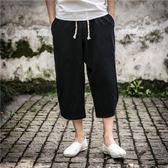 夏季七分褲男沙灘短褲中國風棉麻寬鬆哈倫褲中褲亞麻休閒褲男褲子『潮流世家』