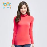 【WIWI】MIT溫灸刷毛高領發熱衣(朝陽紅  女S-2XL)