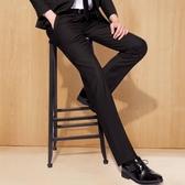西裝褲  夏季修身西裤男士商务正装职业宽松直筒休闲西装裤黑色西服裤子薄  玫瑰
