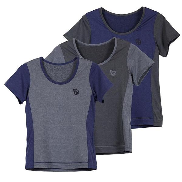 【南紡購物中心】【Vital Salveo 紗比優】女圓領短袖上衣-贈女寬口襪1雙(灰色/紫色/灰藍色)