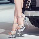 15公分/釐米超高跟涼鞋 夜清涼天高女鞋 厚底防水台模特走秀鞋婚鞋月光節