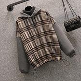 大碼長袖上衣L-4XL18027韓版大碼微胖mm拼接顯瘦減齡呢子套頭上衣4F093 胖妞衣櫥