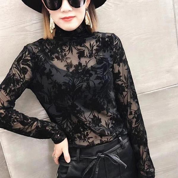 新款高領植絨印花長袖打底衫女性感微透蕾絲衫百搭洋氣上衣1入