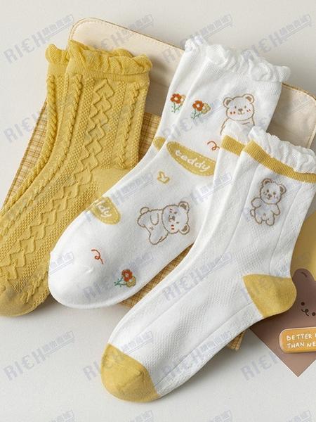 春季木耳花邊卡通小熊麻花女襪中筒襪子女可愛日系