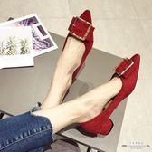 大碼低跟 水鑚絨面淺口尖頭低跟女單鞋35-41 - 古梵希鞋包