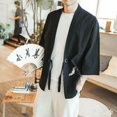 男士外套夏季新款中國風五分袖漢服刺繡薄款大碼男裝小開衫外套 ys3181『伊人雅舍』