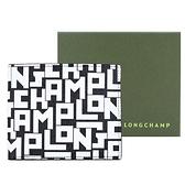 【南紡購物中心】LONGCHAMP LE PLIAGE LGP系列滿版字母雙折短夾(黑X白)
