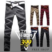 窄管褲《Free Shop》【QM9125】日韓系皮標口袋彈性斜紋布窄版修身休閒長褲工作褲 ‧五色 有大尺碼