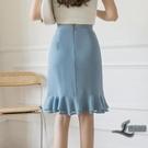 高腰荷葉邊半身裙女顯瘦大碼中長包臀裙雪紡魚尾裙【邻家小鎮】