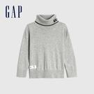 Gap男幼童 Logo刺繡高翻領針織衫 617896-灰色