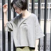 LOWRYS FARM素色圓領落肩LOGO字母純棉短版短袖T恤上衣-四色