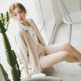 MUMU【G26385】韓國小姐姐輕柔花瓣色雪紡西裝套裝(外套+短褲)