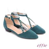 effie 都會舒適 時尚羊皮鉚釘交叉環扣淺口低跟鞋  孔雀藍