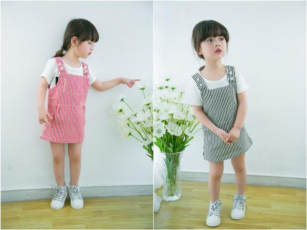 *╮小衣衫S13╭*百搭韓風雙面穿條紋吊帶裙 1050302