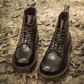 馬丁靴男潮復古馬丁鞋英倫靴子男內增高中幫軍靴防水戶外短靴秋季