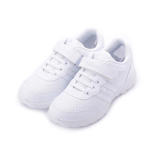 ARRIBA 魔鬼氈洞洞運動鞋 白 大童鞋 鞋全家福