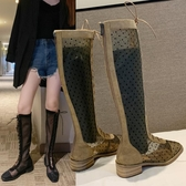 馬丁靴女透氣鏤空長靴英倫風新款百搭波點瘦瘦靴靴子女夏 【快速出貨】