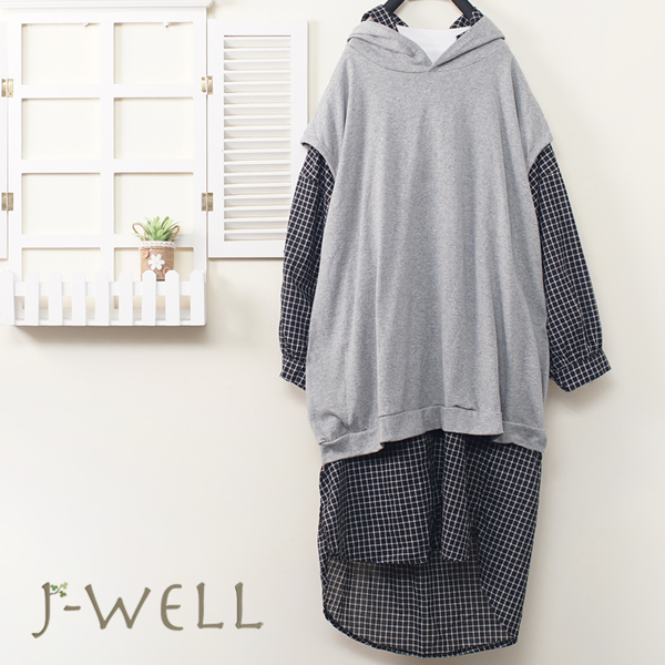 J-WELL 棉質連帽背心上衣格紋長版襯衫二件組(組合A529 9J1073灰+8J1338黑)