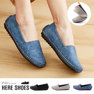 [Here Shoes]MIT台灣製圓頭鉚釘軟底套腳豆豆鞋休閒鞋懶人鞋─AN816