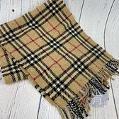 BRAND楓月 BURBERRY 經典 咖啡色 格紋 100% 喀什米爾 羊毛 圍巾 造型 配件