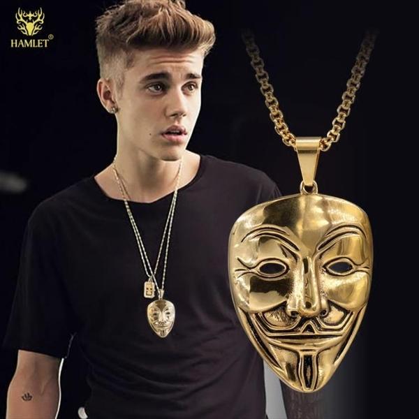 歐美潮牌嘻哈hiphop裝飾品笑臉面具吊墜項鍊男鈦鋼掛件墜配飾潮人