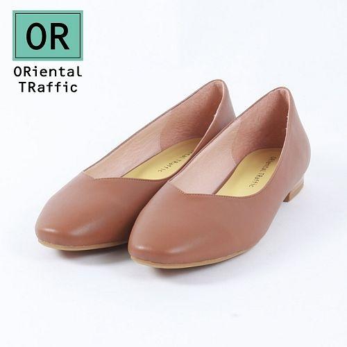【ORiental TRaffic】舒適V口方頭平底鞋-溫暖駝