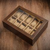 夭桃(飾品)木制天窗手表盒子十格木質首飾手鏈手串展示盒收納盒