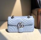 ▶2021 春夏新品■專櫃94折■ Gucci 全新真品 GG Marmont 小款 26cm 雙G釦飾肩背包 Paste Blue